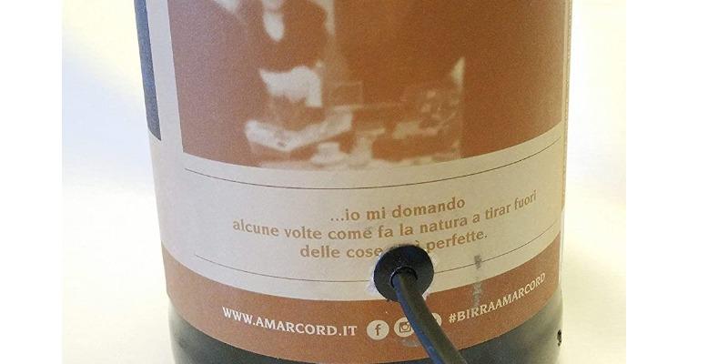 Marco Arezio - Consulente materie plastiche - Lampada in una bottiglia di birra riciclata da 2 litri attacco elettrico